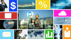 CG video montage Chinese business touch screen navigation app motion graphics Stock Footage