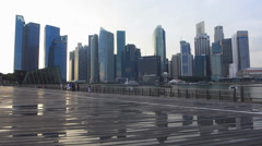 Time Lapse Asia Singapore Skyline Financial district after tropical rain raining Stock Footage