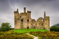 scenic view of medieval kilchurn castle in scottish highlands - stock photo