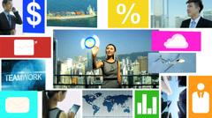 3D video montage Asian businesswoman businessman app motion graphics Stock Footage