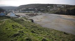 Porthtowan beach near St Agnes Cornwall England UK PAN Stock Footage