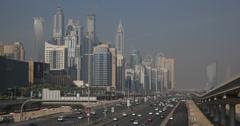 Ultra HD 4K Dubai Marina Skyline Establishing Shot Highway Busy Street Cars Stock Footage