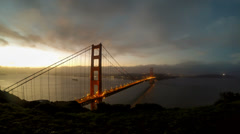 Golden Gate at dawn 1 Stock Footage