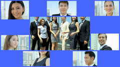 3D video montage Asian businessmen businesswomen trade team app motion graphics - stock footage