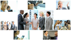 3D video montage Multi ethnic business team strategy app motion graphics Stock Footage