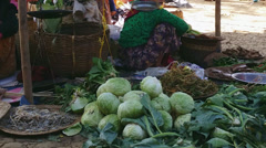 Famous tourist travel destination in Burma. Traditional market near Inle Lake - stock footage