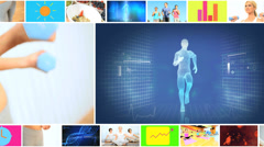 CG video montage Multi ethnic healthy eating lifestyle app motion graphics Stock Footage
