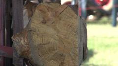 Cutting Wood w Big Saw.mp4 - stock footage