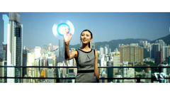 CG touch screen Asian business manager online data app motion graphics Stock Footage