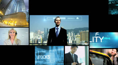 3D video montage Multi ethnic world business trade multimedia motion graphics Stock Footage