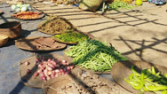 Stock Video Footage of Vegetarian food market of local fruits, vegetables and goods in Asia, Burma