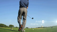 Stock Video Footage of 3D video montage professional Caucasian man golf course fitness motion graphics