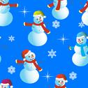 Stock Illustration of seamless wallpaper from snowman and snowflakes