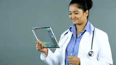 Touch screen Indian doctor wireless navigation medical motion graphics - stock footage