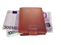 Euro banknotes in the wallet Stock Photos