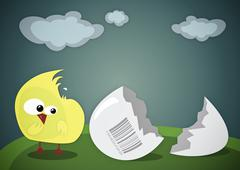 Confused chick - stock illustration