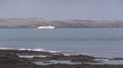 Ferry in Gills Bay route to Orkney Scotland - stock footage