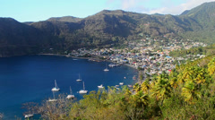 Soufriere town st lucia Stock Footage
