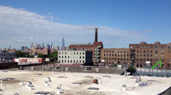 New York skyline from Pulaski Bridge Stock Footage