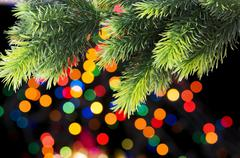 Christmas decoration and blurred lights at background - stock photo