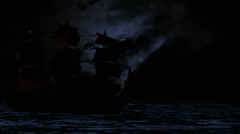 0964 Pirate/Colonial Sailboat at Night Stock Footage