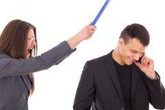 angry woman yelling, unfaithful man having secrets - stock photo
