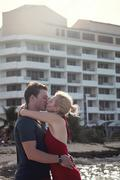 Happy couple in vacation in san andres, colombia Stock Photos