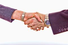 shaking hands, comic style - stock photo