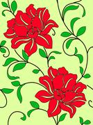Seamless wallpaper  a seam with flower and leaves Stock Illustration