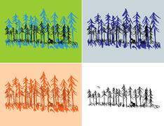 Seasonal Forest Scenes Stock Illustration