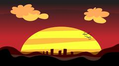 Sunset City at Dusk - stock illustration