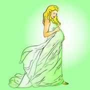Kaunis raskaana oleva nainen pitkä mekko Piirros