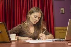 business woman director manager writing notes signs papers - stock photo