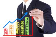 Stock Illustration of businessman drawing graph grow