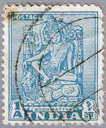 Bodhisattva. India. Postage stamp - stock photo
