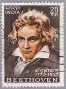 Beethoven. Postage stamp - stock photo