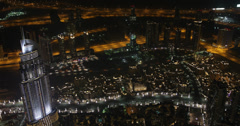 UltraHD 4K Evening Night Lights Dubai Aerial View Skyline Address Hote Above Stock Footage