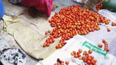 Fresh tomatoes at local market of organic food in Burma, Myanmar Stock Footage