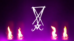 Sigil of lucifer cryptic occult Stock Footage