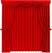 red closed curtain - stock illustration