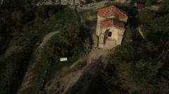 Aerial View: Chufut-Kale fortress, Mausoleum of Dzhanike-Khanym. Crimea Stock Footage