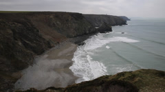 Portreath North Cornwall England UK between St Agnes and Godrevy - stock footage