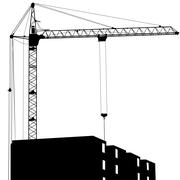 Silhouette of one cranes working on the building on a white background Stock Illustration