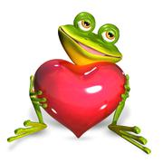 frog with heart - stock illustration