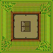The modern computer is the processor on a chip Stock Illustration