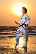 Taekwondo man training - stock photo