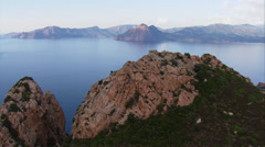 Aerial corsica scandola mountains red sea corse Stock Footage
