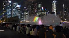 Stunning Light Laser show Asia Singapore Skyline Marina Bay Financial district Stock Footage