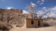 Rock House Pioneer Outlaw Cabin in the Wild American West Stock Footage