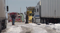 Truck Stuck in Snow Stock Footage